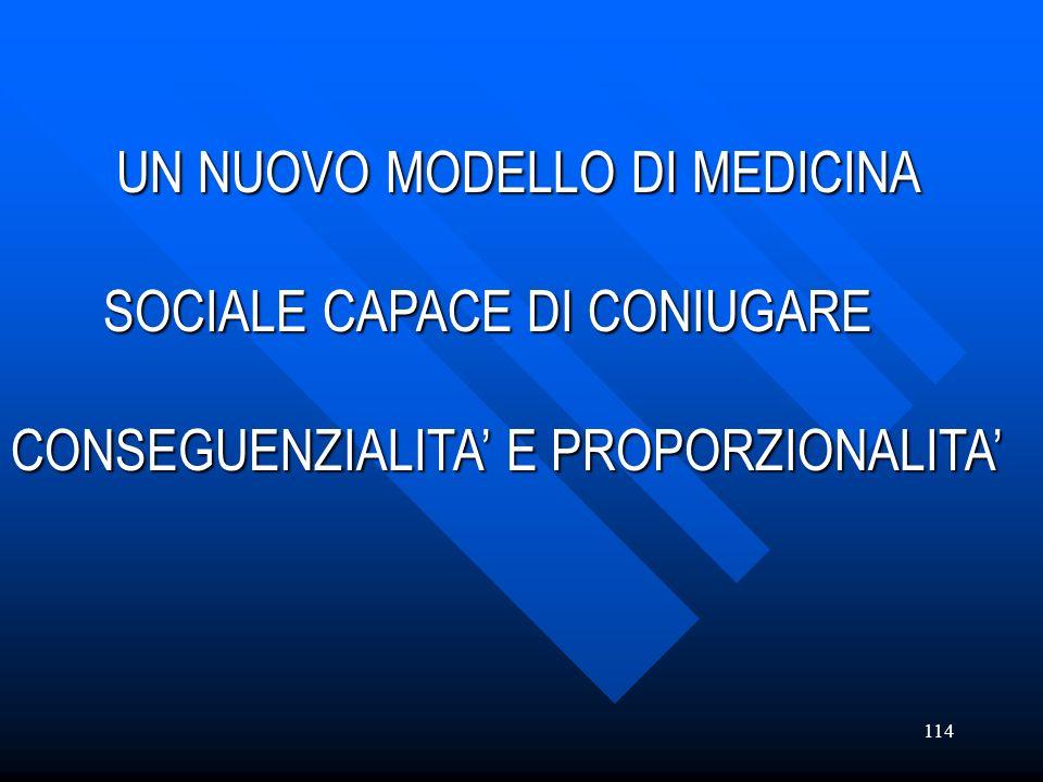 114 UN NUOVO MODELLO DI MEDICINA UN NUOVO MODELLO DI MEDICINA SOCIALE CAPACE DI CONIUGARE SOCIALE CAPACE DI CONIUGARE CONSEGUENZIALITA E PROPORZIONALI