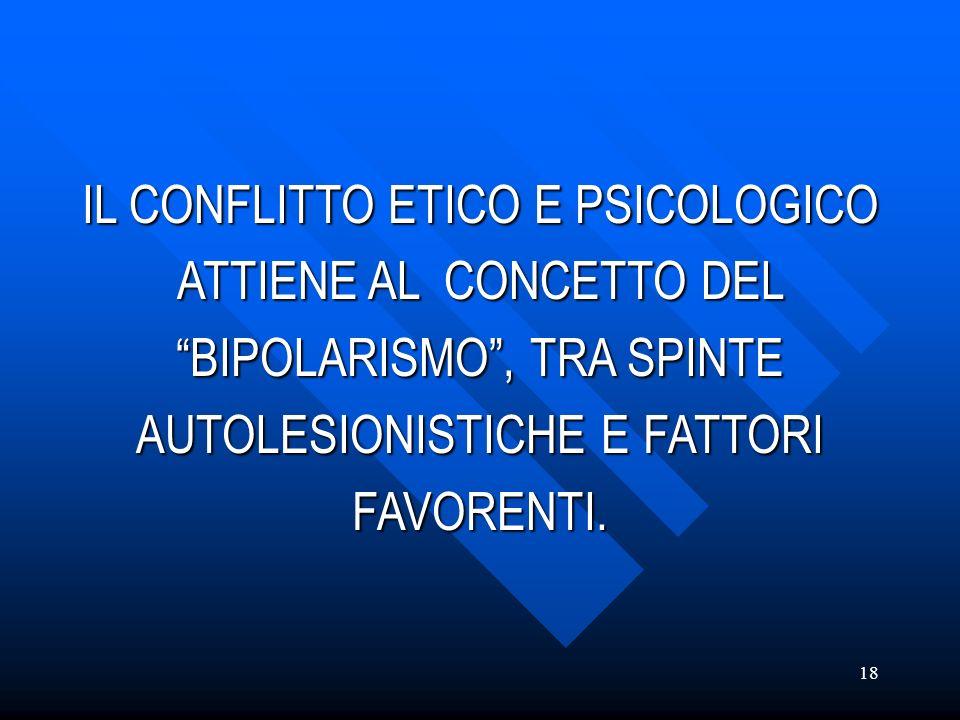 18 IL CONFLITTO ETICO E PSICOLOGICO ATTIENE AL CONCETTO DEL BIPOLARISMO, TRA SPINTE AUTOLESIONISTICHE E FATTORI FAVORENTI.