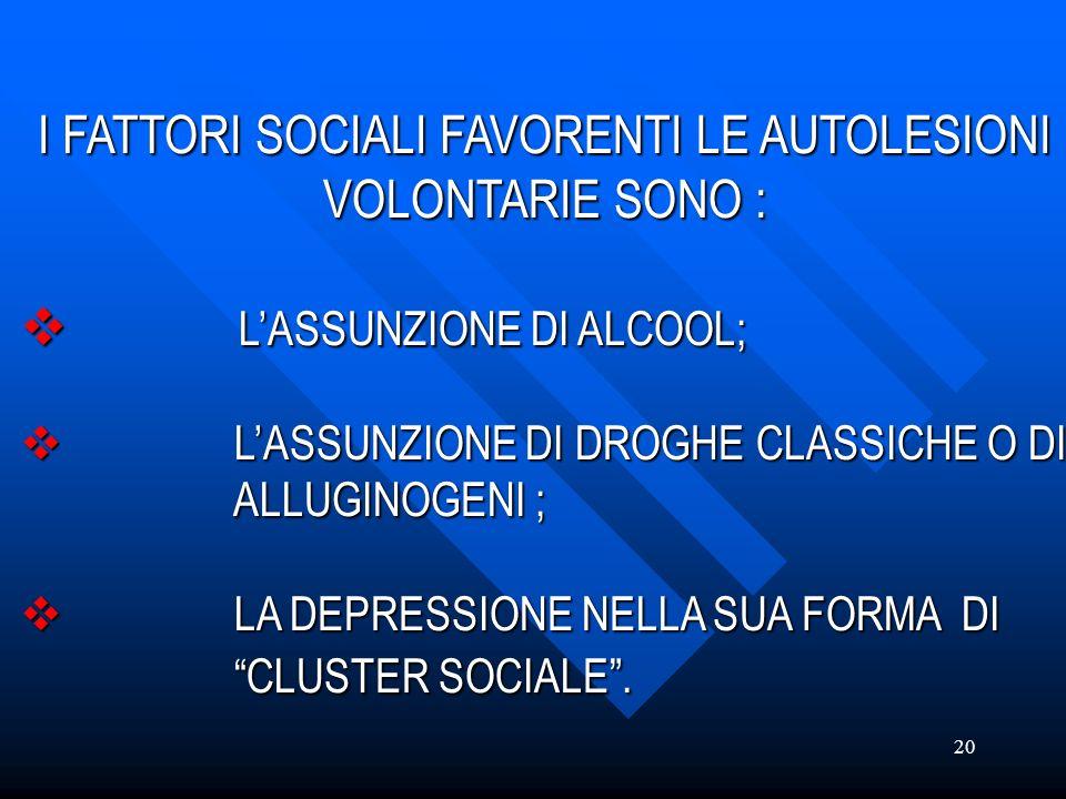 20 I FATTORI SOCIALI FAVORENTI LE AUTOLESIONI VOLONTARIE SONO : LASSUNZIONE DI ALCOOL; LASSUNZIONE DI DROGHE CLASSICHE O DI ALLUGINOGENI ; LA DEPRESSI