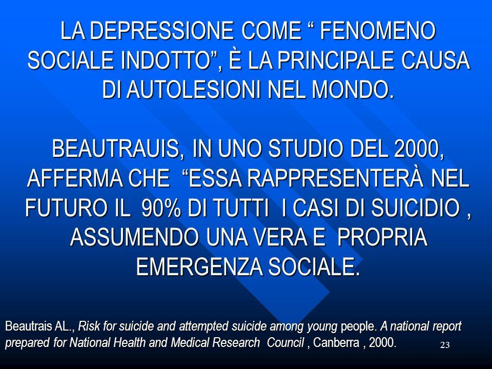 23 LA DEPRESSIONE COME FENOMENO SOCIALE INDOTTO, È LA PRINCIPALE CAUSA DI AUTOLESIONI NEL MONDO. BEAUTRAUIS, IN UNO STUDIO DEL 2000, AFFERMA CHE ESSA