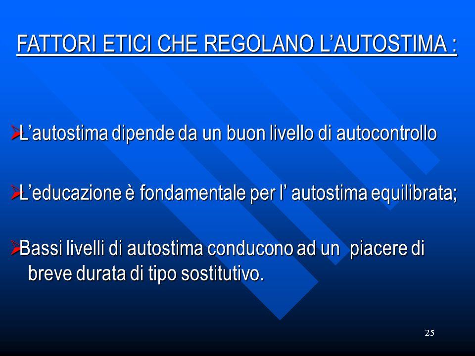 25 Lautostima Lautostima dipende da un buon livello di autocontrollo Leducazione Leducazione è fondamentale per l autostima equilibrata; Bassi Bassi l