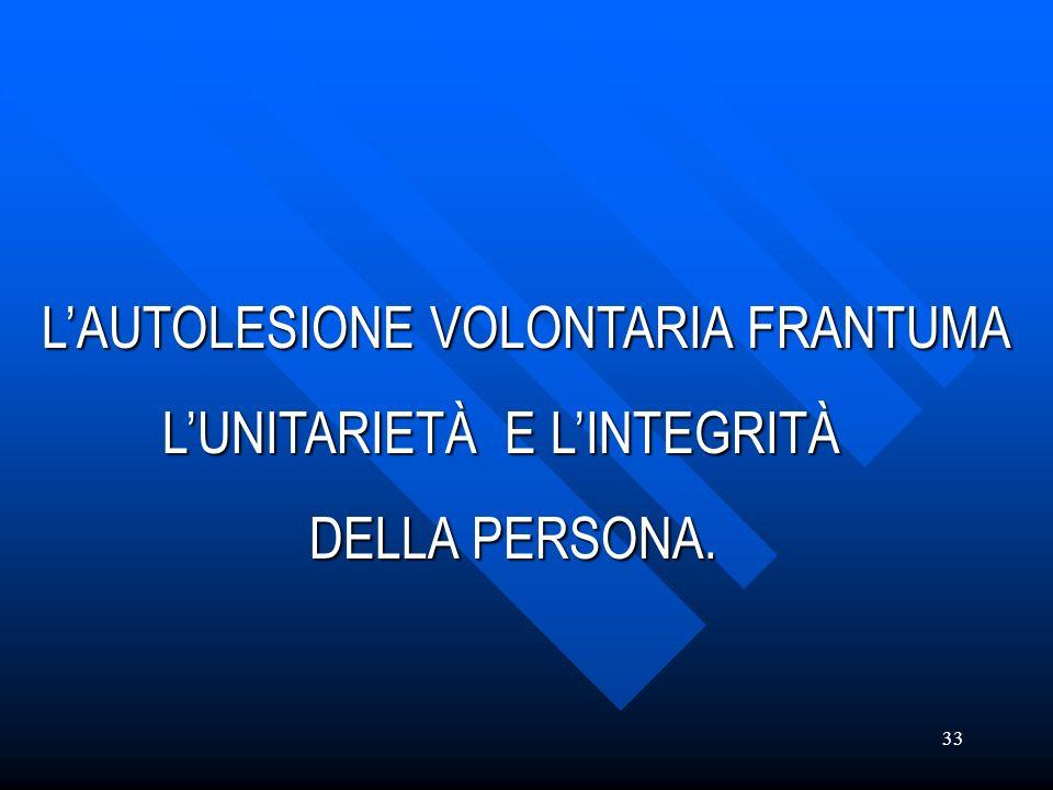 33 LAUTOLESIONE VOLONTARIA FRANTUMA LAUTOLESIONE VOLONTARIA FRANTUMA LUNITARIETÀ E LINTEGRITÀ LUNITARIETÀ E LINTEGRITÀ DELLA PERSONA. DELLA PERSONA.