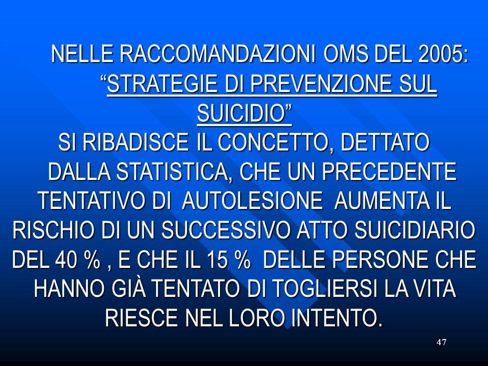 47 NELLE RACCOMANDAZIONI OMS DEL 2005:STRATEGIE DI PREVENZIONE SUL SUICIDIO NELLE RACCOMANDAZIONI OMS DEL 2005:STRATEGIE DI PREVENZIONE SUL SUICIDIO S