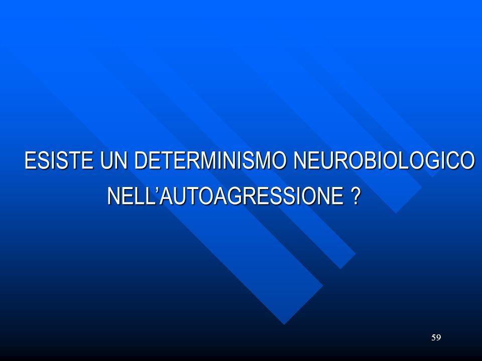 59 ESISTE UN DETERMINISMO NEUROBIOLOGICO NELLAUTOAGRESSIONE ? NELLAUTOAGRESSIONE ?