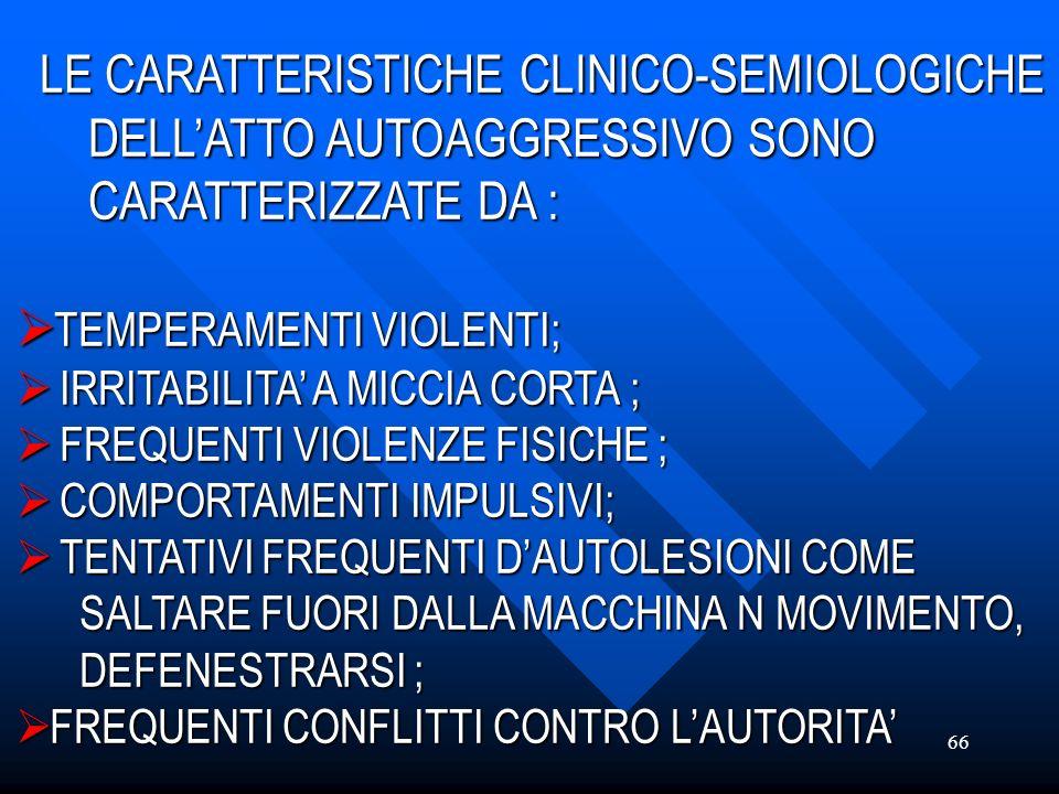 66 LE CARATTERISTICHE CLINICO-SEMIOLOGICHE DELLATTO AUTOAGGRESSIVO SONO DELLATTO AUTOAGGRESSIVO SONO CARATTERIZZATE DA : CARATTERIZZATE DA : TEMPERAME