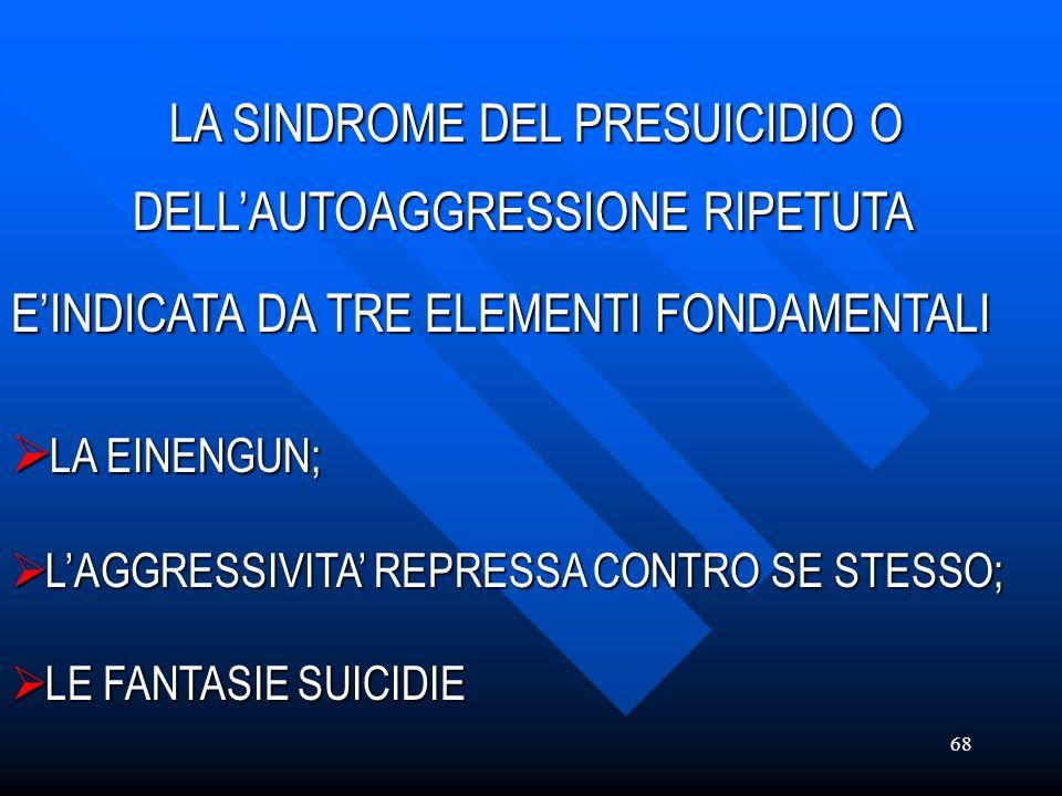 68 LA SINDROME DEL PRESUICIDIO O DELLAUTOAGGRESSIONE RIPETUTA EINDICATA DA TRE ELEMENTI FONDAMENTALI DELLAUTOAGGRESSIONE RIPETUTA EINDICATA DA TRE ELE