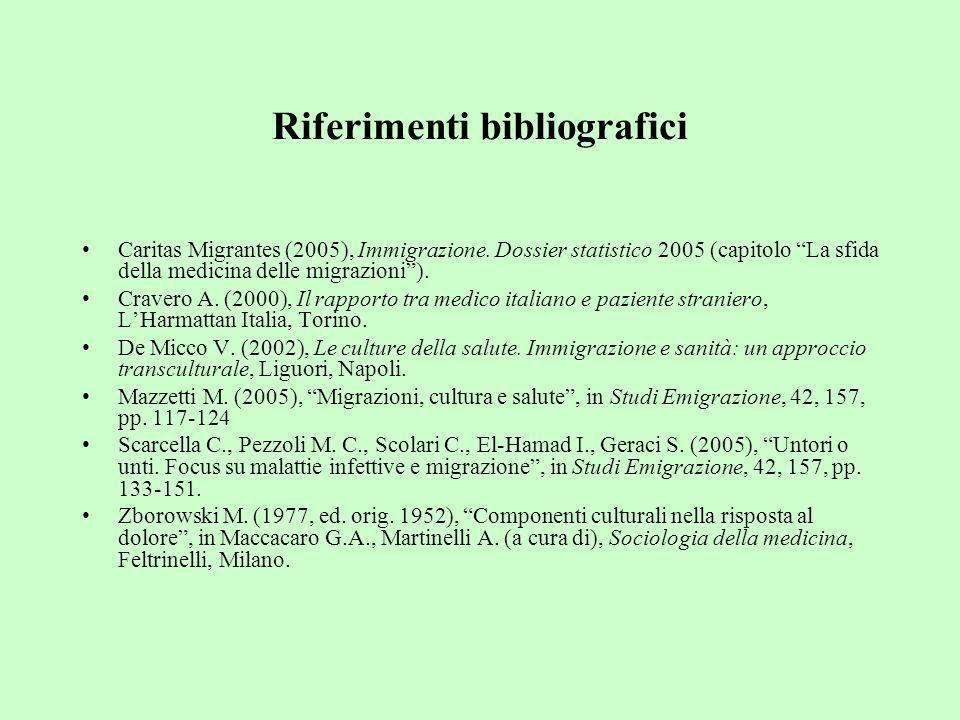 Riferimenti bibliografici Caritas Migrantes (2005), Immigrazione. Dossier statistico 2005 (capitolo La sfida della medicina delle migrazioni). Cravero