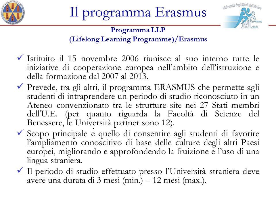 Il programma Erasmus Programma LLP (Lifelong Learning Programme)/Erasmus Istituito il 15 novembre 2006 riunisce al suo interno tutte le iniziative di
