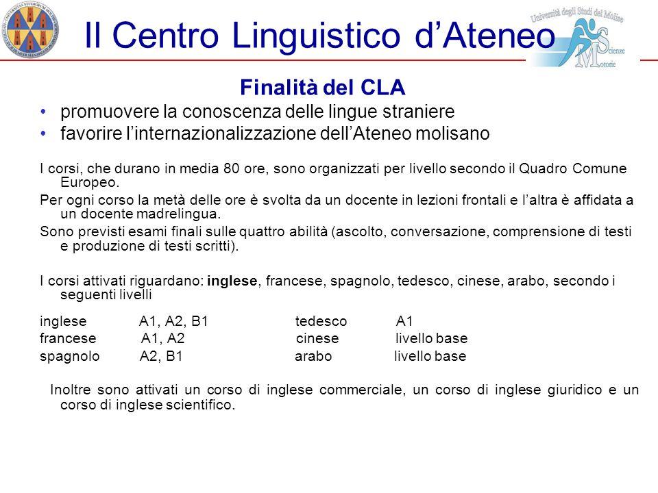 Il Centro Linguistico dAteneo Finalità del CLA promuovere la conoscenza delle lingue straniere favorire linternazionalizzazione dellAteneo molisano I