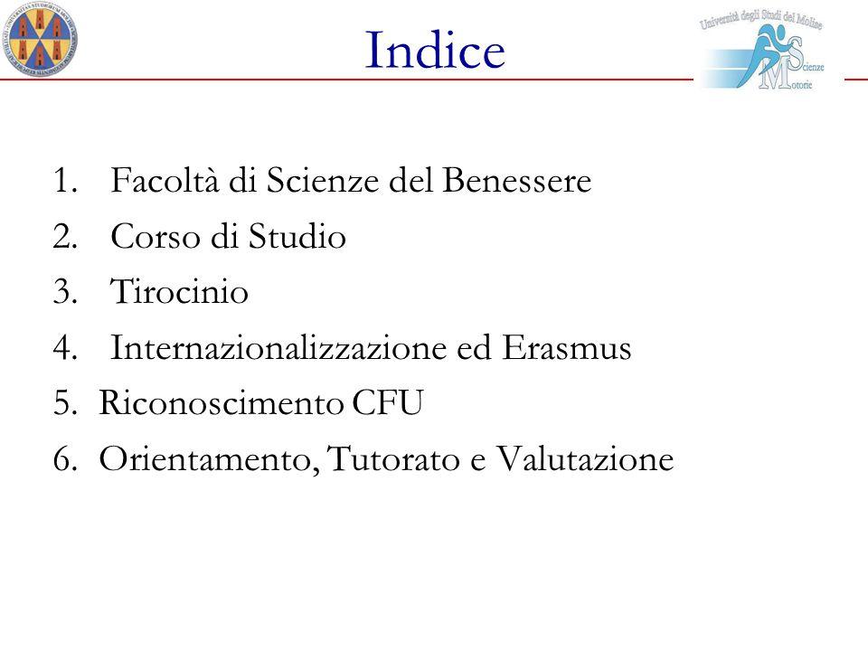 Indice 1.Facoltà di Scienze del Benessere 2.Corso di Studio 3.Tirocinio 4.Internazionalizzazione ed Erasmus 5. Riconoscimento CFU 6. Orientamento, Tut