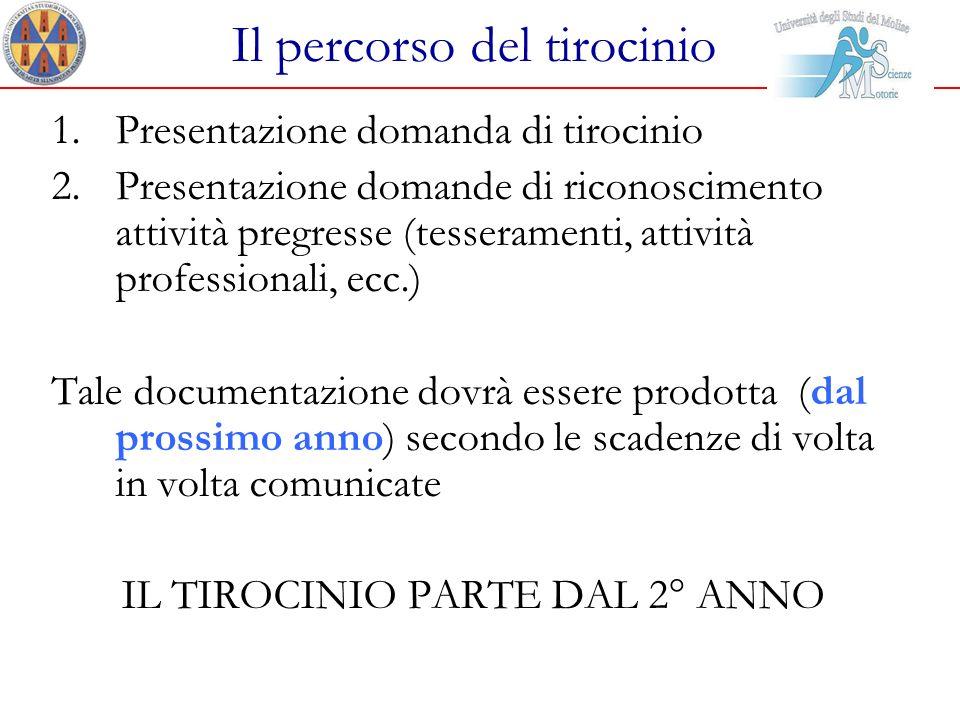 Il percorso del tirocinio 1.Presentazione domanda di tirocinio 2.Presentazione domande di riconoscimento attività pregresse (tesseramenti, attività pr