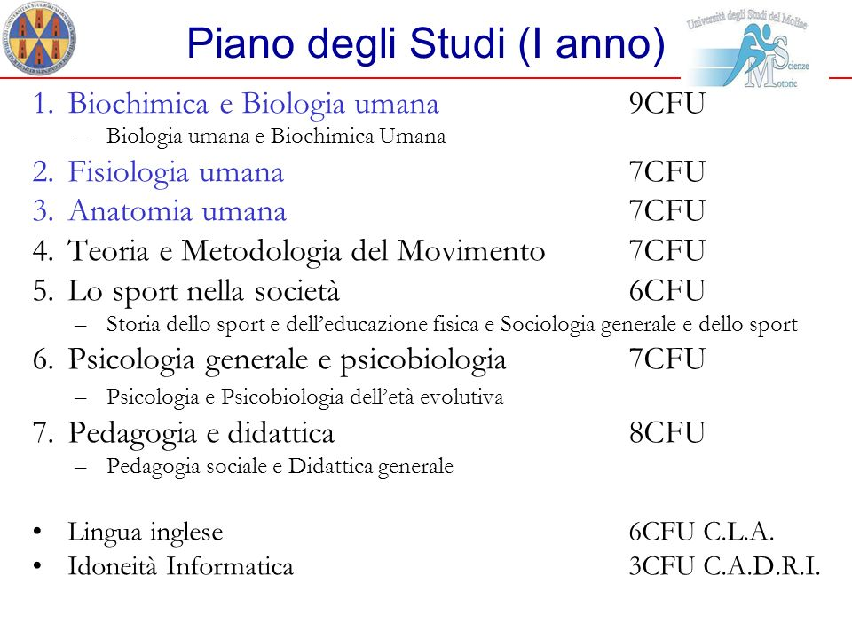 Piano degli Studi (I anno) 1.Biochimica e Biologia umana 9CFU –Biologia umana e Biochimica Umana 2.Fisiologia umana 7CFU 3.Anatomia umana 7CFU 4.Teori