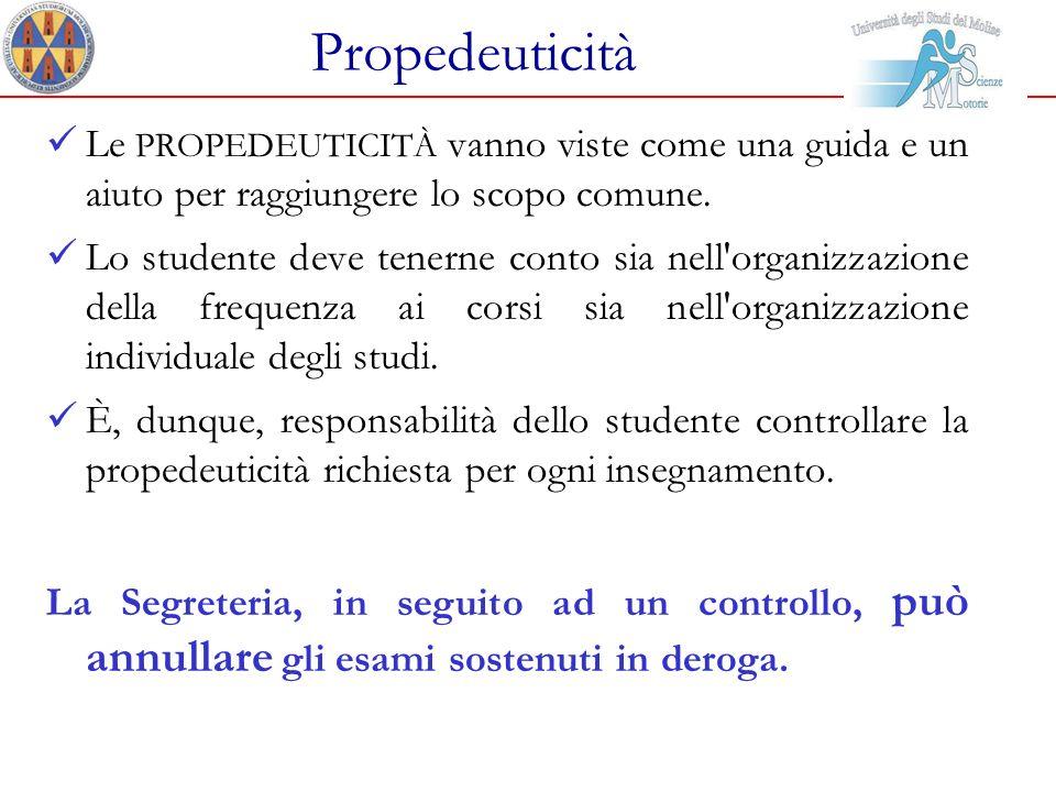 Propedeuticità Le PROPEDEUTICITÀ vanno viste come una guida e un aiuto per raggiungere lo scopo comune. Lo studente deve tenerne conto sia nell'organi