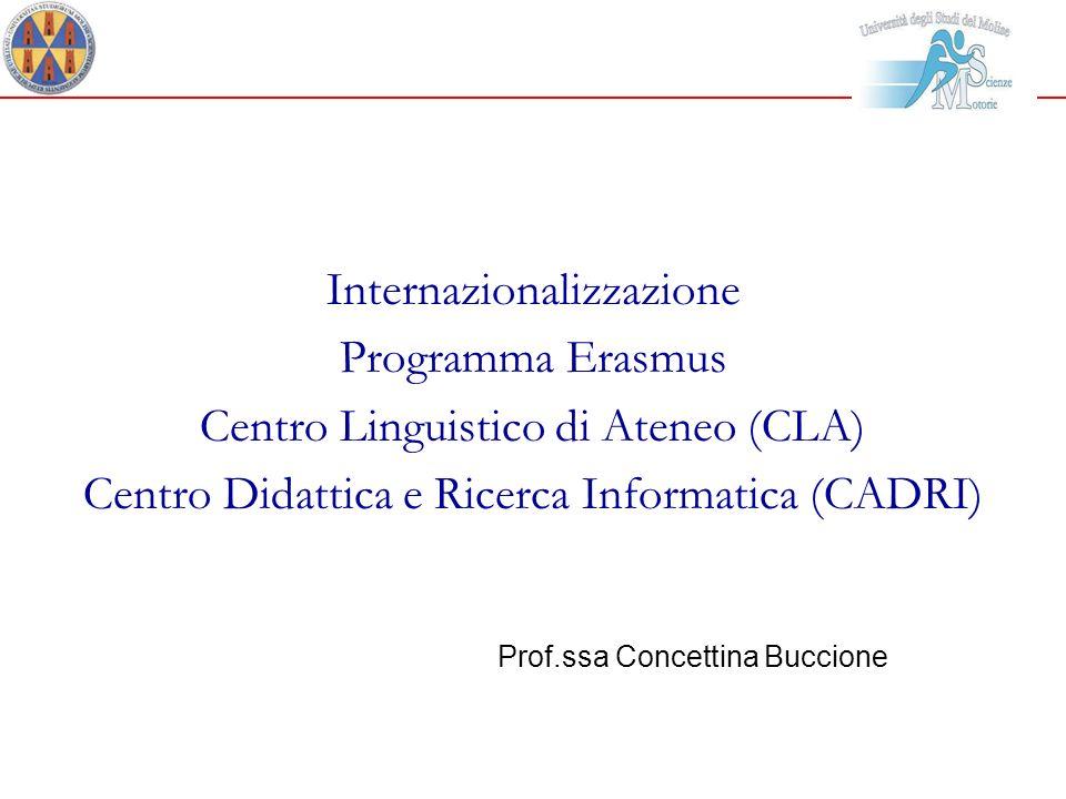 Internazionalizzazione Programma Erasmus Centro Linguistico di Ateneo (CLA) Centro Didattica e Ricerca Informatica (CADRI) Prof.ssa Concettina Buccion