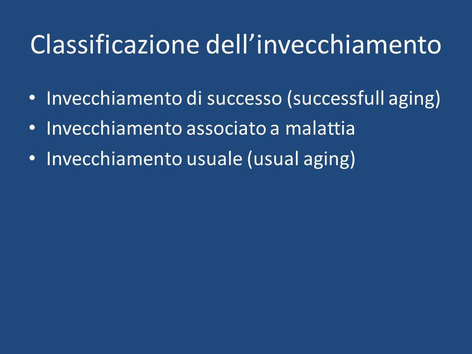 Classificazione dellinvecchiamento Invecchiamento di successo (successfull aging) Invecchiamento associato a malattia Invecchiamento usuale (usual aging)