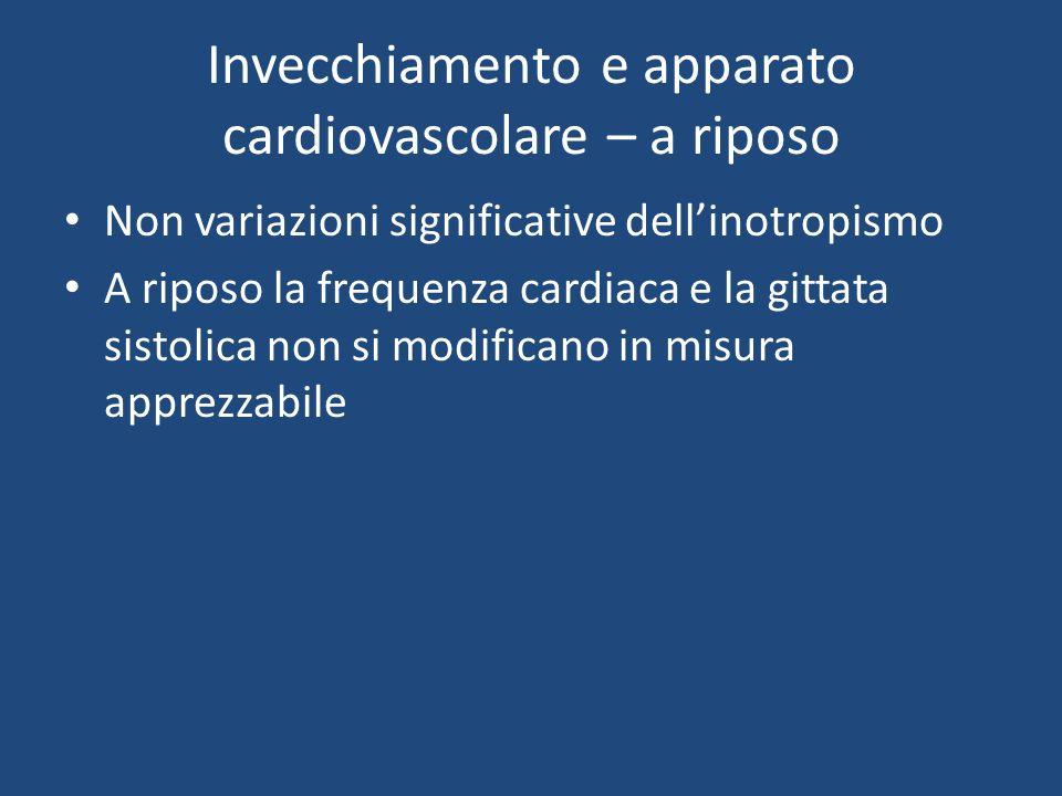 Invecchiamento e apparato cardiovascolare – a riposo Non variazioni significative dellinotropismo A riposo la frequenza cardiaca e la gittata sistolica non si modificano in misura apprezzabile