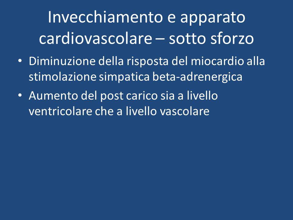 Invecchiamento e apparato cardiovascolare – sotto sforzo Diminuzione della risposta del miocardio alla stimolazione simpatica beta-adrenergica Aumento del post carico sia a livello ventricolare che a livello vascolare