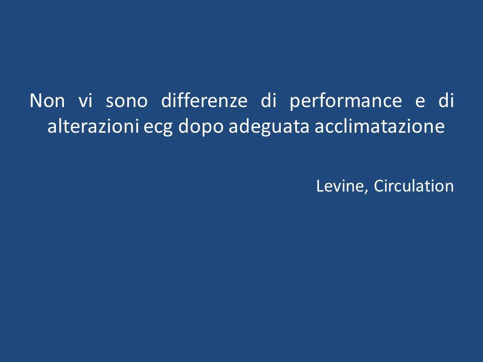 Non vi sono differenze di performance e di alterazioni ecg dopo adeguata acclimatazione Levine, Circulation