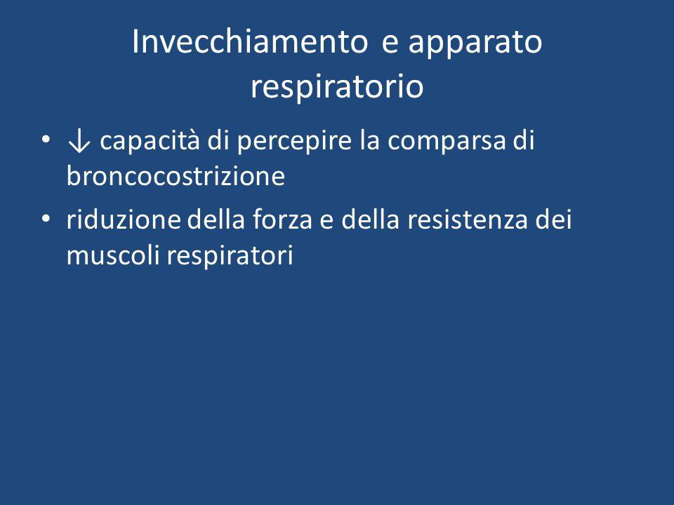 Invecchiamento e apparato respiratorio capacità di percepire la comparsa di broncocostrizione riduzione della forza e della resistenza dei muscoli respiratori