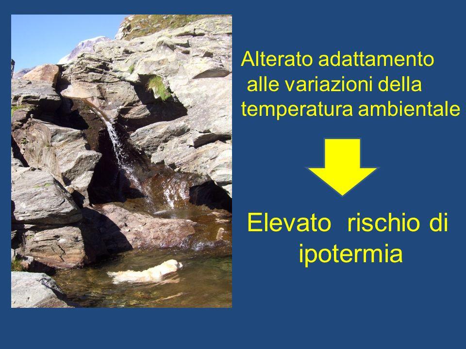 Alterato adattamento alle variazioni della temperatura ambientale Elevato rischio di ipotermia