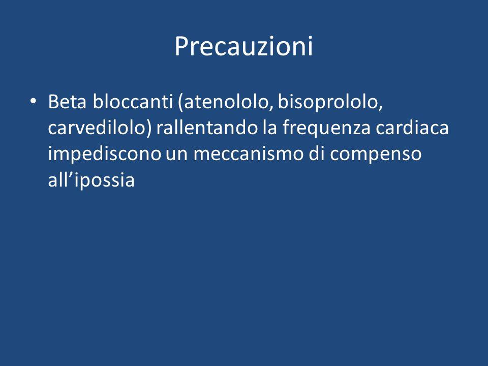Precauzioni Beta bloccanti (atenololo, bisoprololo, carvedilolo) rallentando la frequenza cardiaca impediscono un meccanismo di compenso allipossia