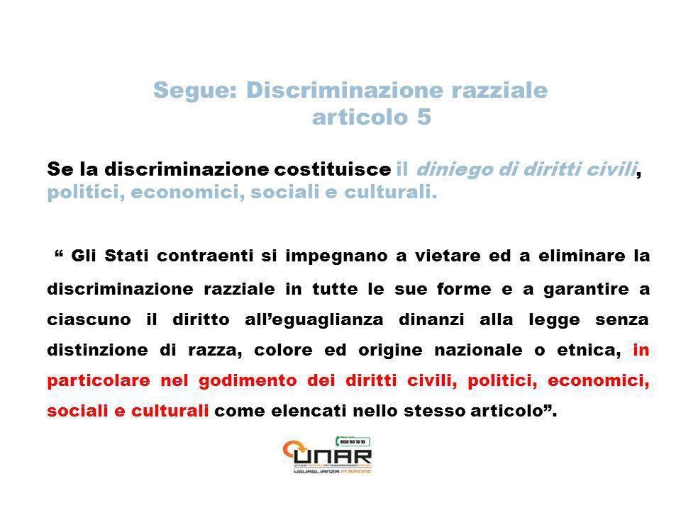 Segue: Discriminazione razziale articolo 5 Se la discriminazione costituisce il diniego di diritti civili, politici, economici, sociali e culturali.