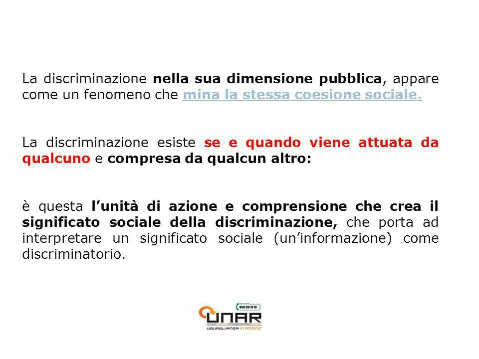 La discriminazione nella sua dimensione pubblica, appare come un fenomeno che mina la stessa coesione sociale.