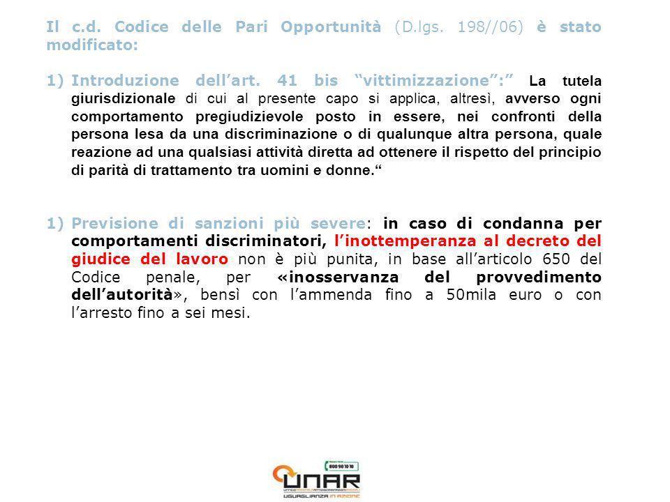 Il c.d. Codice delle Pari Opportunità (D.lgs. 198//06) è stato modificato: 1)Introduzione dellart.
