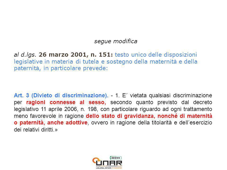 segue modifica al d.lgs. 26 marzo 2001, n.