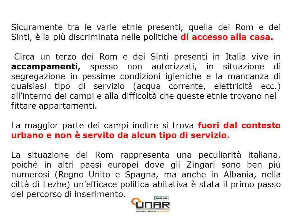 Sicuramente tra le varie etnie presenti, quella dei Rom e dei Sinti, è la più discriminata nelle politiche di accesso alla casa.