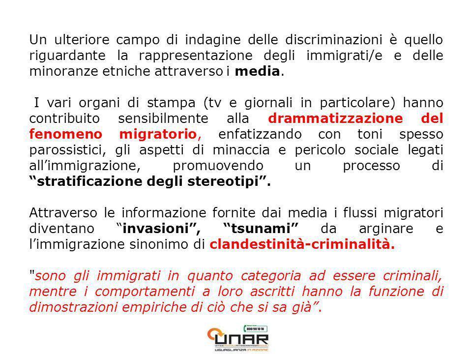 Un ulteriore campo di indagine delle discriminazioni è quello riguardante la rappresentazione degli immigrati/e e delle minoranze etniche attraverso i media.