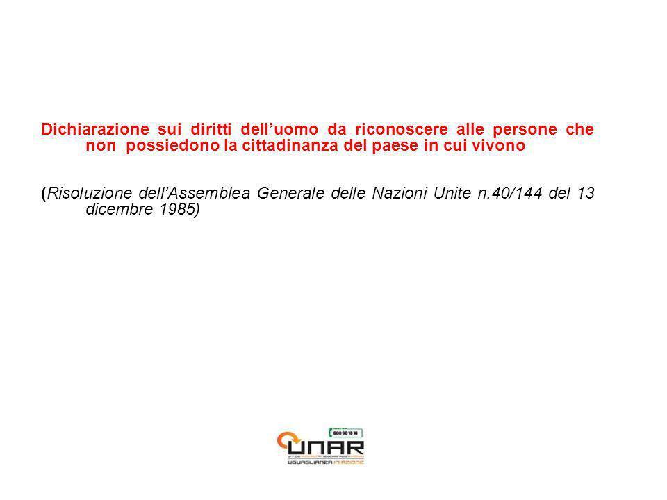 Dichiarazione sui diritti delluomo da riconoscere alle persone che non possiedono la cittadinanza del paese in cui vivono (Risoluzione dellAssemblea Generale delle Nazioni Unite n.40/144 del 13 dicembre 1985)