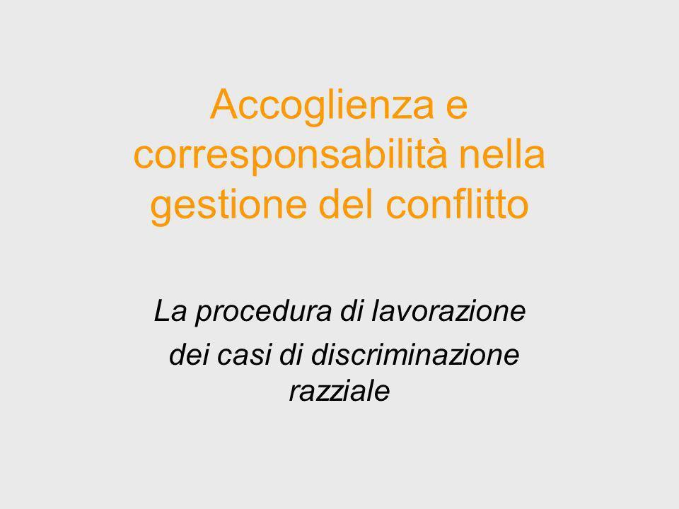 Accoglienza e corresponsabilità nella gestione del conflitto La procedura di lavorazione dei casi di discriminazione razziale