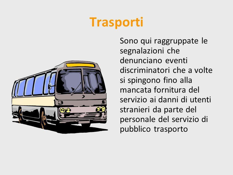 Trasporti Sono qui raggruppate le segnalazioni che denunciano eventi discriminatori che a volte si spingono fino alla mancata fornitura del servizio ai danni di utenti stranieri da parte del personale del servizio di pubblico trasporto