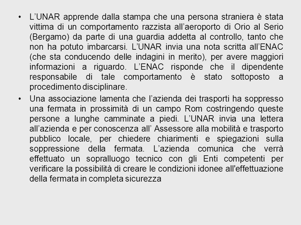LUNAR apprende dalla stampa che una persona straniera è stata vittima di un comportamento razzista allaeroporto di Orio al Serio (Bergamo) da parte di