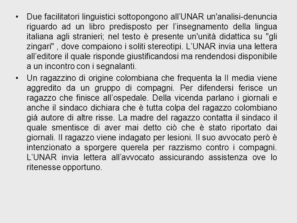 Due facilitatori linguistici sottopongono allUNAR un analisi-denuncia riguardo ad un libro predisposto per linsegnamento della lingua italiana agli stranieri; nel testo è presente un unità didattica su gli zingari , dove compaiono i soliti stereotipi.