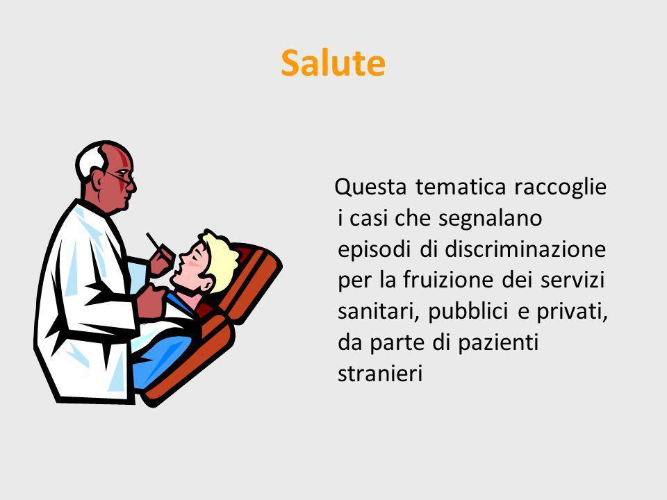 Salute Questa tematica raccoglie i casi che segnalano episodi di discriminazione per la fruizione dei servizi sanitari, pubblici e privati, da parte d