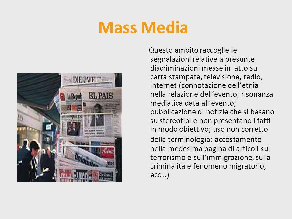 Mass Media Questo ambito raccoglie le segnalazioni relative a presunte discriminazioni messe in atto su carta stampata, televisione, radio, internet (