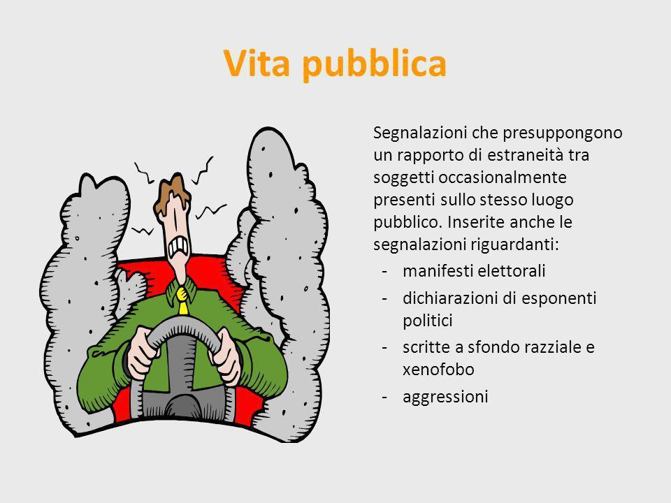 Vita pubblica Segnalazioni che presuppongono un rapporto di estraneità tra soggetti occasionalmente presenti sullo stesso luogo pubblico. Inserite anc