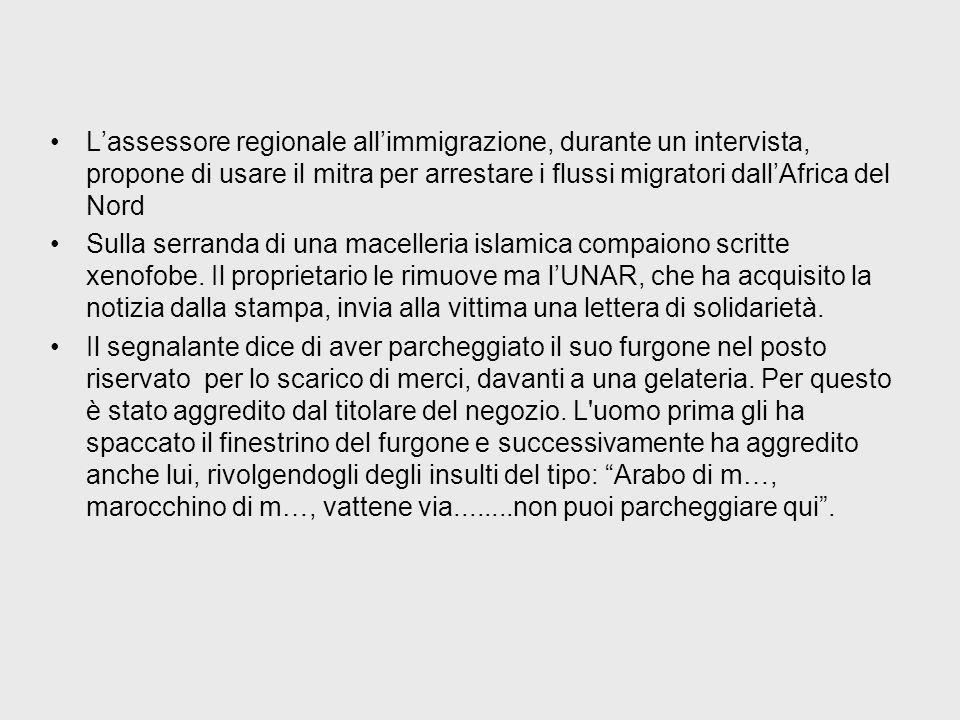 Lassessore regionale allimmigrazione, durante un intervista, propone di usare il mitra per arrestare i flussi migratori dallAfrica del Nord Sulla serranda di una macelleria islamica compaiono scritte xenofobe.