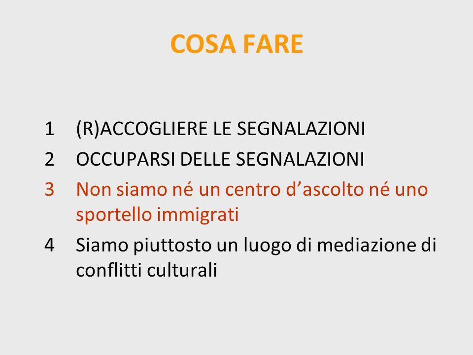 COSA FARE 1(R)ACCOGLIERE LE SEGNALAZIONI 2OCCUPARSI DELLE SEGNALAZIONI 3Non siamo né un centro dascolto né uno sportello immigrati 4Siamo piuttosto un luogo di mediazione di conflitti culturali