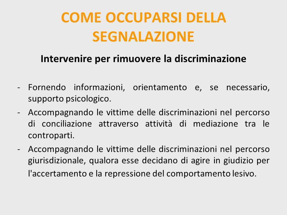 COME OCCUPARSI DELLA SEGNALAZIONE Intervenire per rimuovere la discriminazione -Fornendo informazioni, orientamento e, se necessario, supporto psicolo