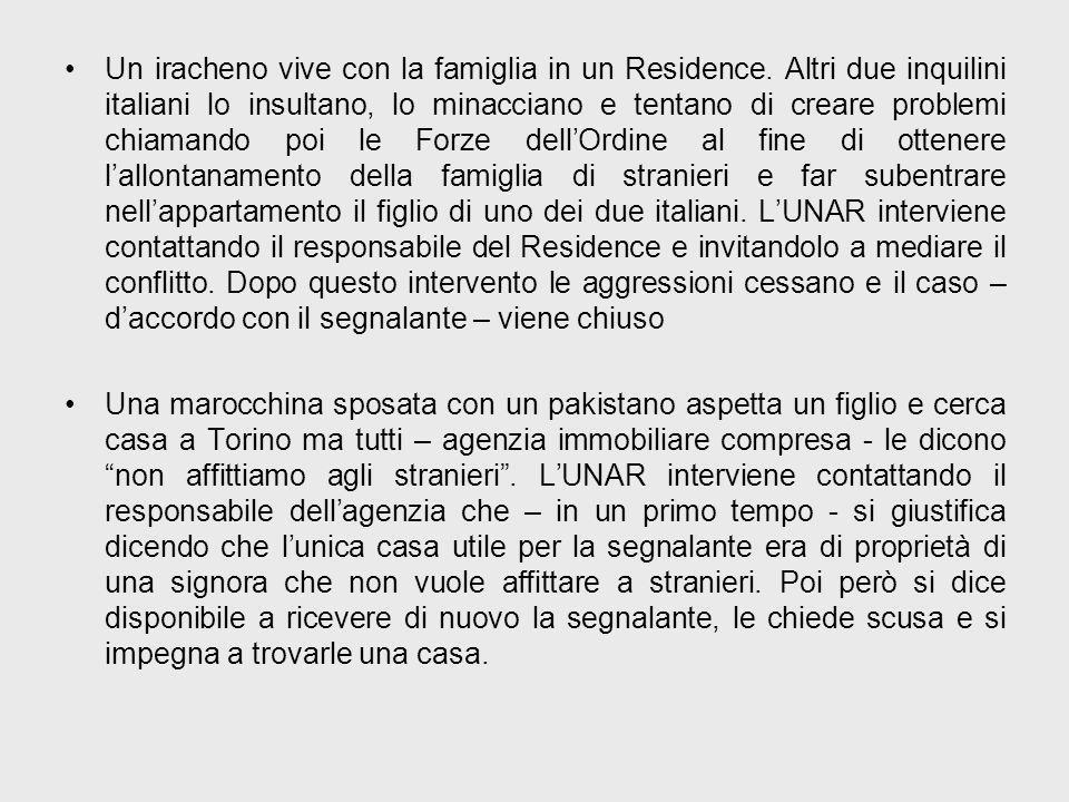 Un iracheno vive con la famiglia in un Residence. Altri due inquilini italiani lo insultano, lo minacciano e tentano di creare problemi chiamando poi