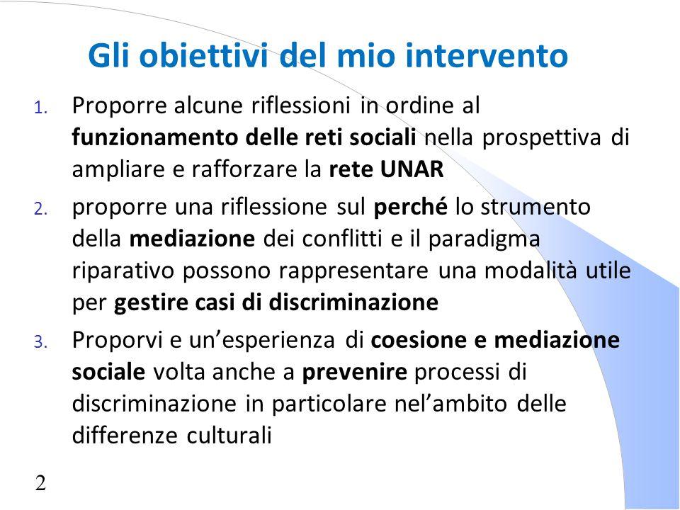 2 Gli obiettivi del mio intervento 1. Proporre alcune riflessioni in ordine al funzionamento delle reti sociali nella prospettiva di ampliare e raffor