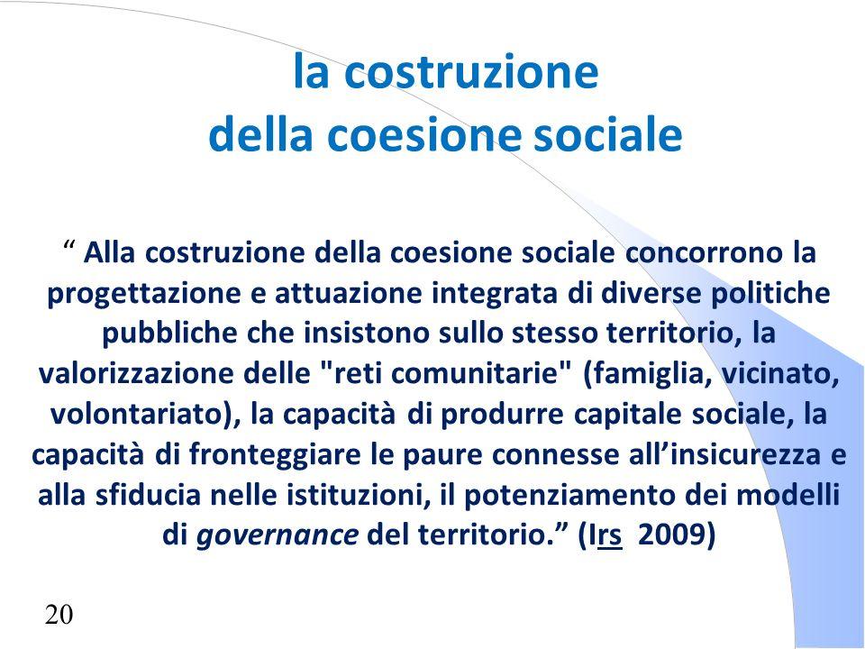 20 Alla costruzione della coesione sociale concorrono la progettazione e attuazione integrata di diverse politiche pubbliche che insistono sullo stess