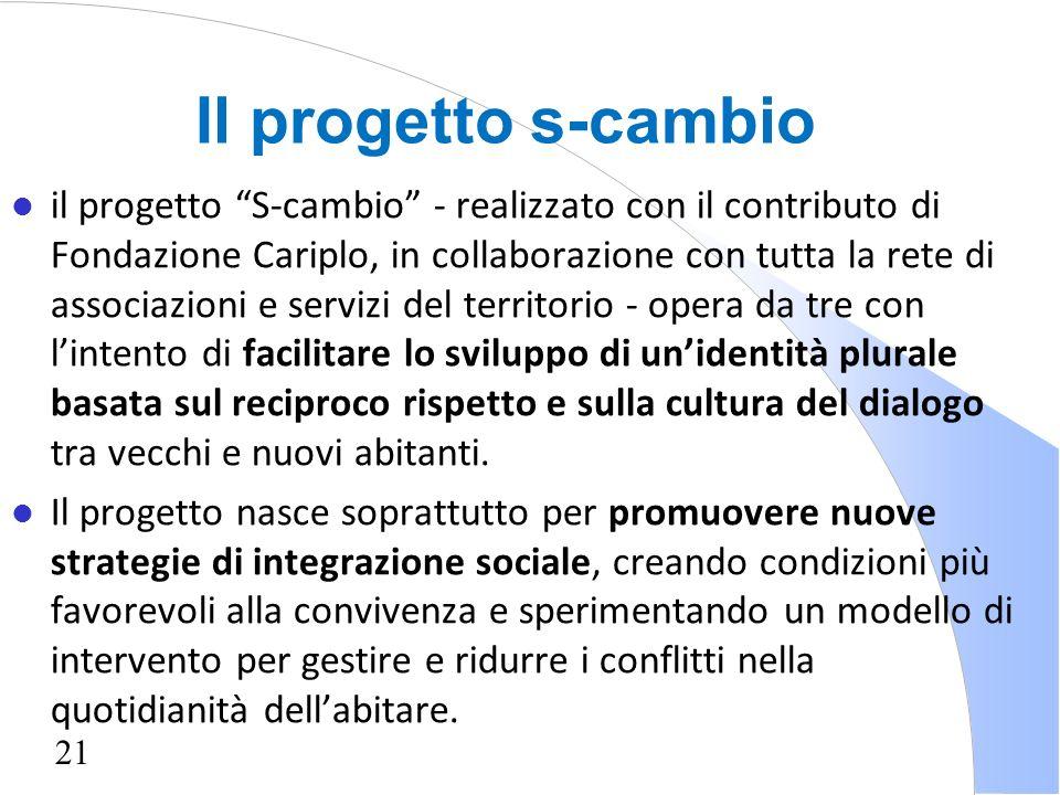 21 l il progetto S-cambio - realizzato con il contributo di Fondazione Cariplo, in collaborazione con tutta la rete di associazioni e servizi del terr