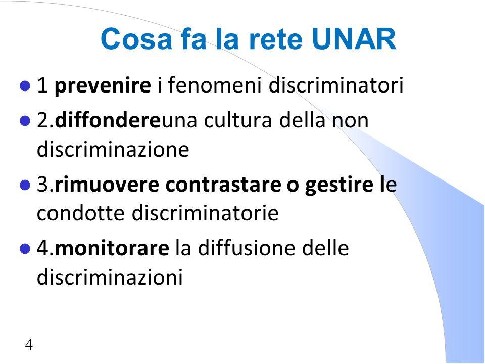 4 Cosa fa la rete UNAR l 1 prevenire i fenomeni discriminatori l 2.diffondereuna cultura della non discriminazione l 3.rimuovere contrastare o gestire