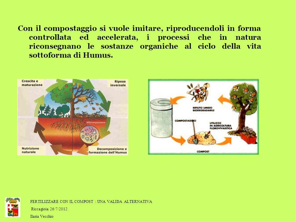 FERTILIZZARE CON IL COMPOST : UNA VALIDA ALTERNATIVA Riccagioia 26/7/2012 Ilaria Vecchio Con il compostaggio si vuole imitare, riproducendoli in forma