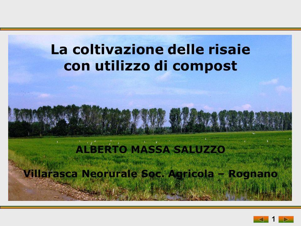 1 La coltivazione delle risaie con utilizzo di compost ALBERTO MASSA SALUZZO Villarasca Neorurale Soc.