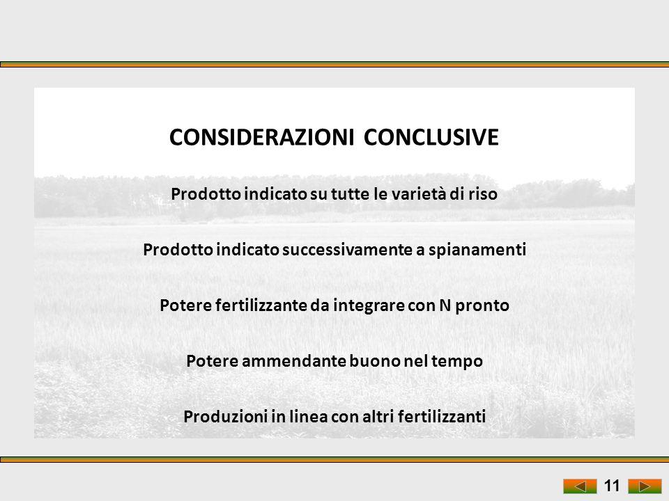 11 CONSIDERAZIONI CONCLUSIVE Prodotto indicato su tutte le varietà di riso Prodotto indicato successivamente a spianamenti Potere fertilizzante da int